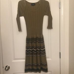 Tan Sweater Dress with Patterned Skirt
